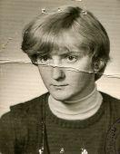 POLAND, CIRCA MARCH 1969 - Vintage photo of young girl