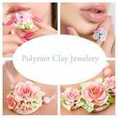 Romantic Style: Fashion Studio Shot Of Beautiful Woman With A Floral Ring (jewelery Made Of Polymer