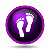 stock photo of webbed feet white  - Foot print icon - JPG