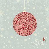 Greeting Card With  Ornamental Christmas Ball