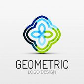 Vector abstract geometric shape icon, company logo design, business symbol concept, minimal line sty