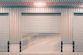 image of roller shutter door  - Shutter door or rolling door outside factory - JPG