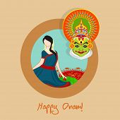 pic of indian culture  - South Indian festival Happy Onam celebration with young beautiful girl and Indian cultural Kathakali dancer face on beige background - JPG