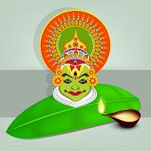 Image of kathakali dancer face with heavy makeup on banana leaf and illuminated oil lit lamp on gray