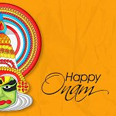 pic of onam festival  - Indian cultural Kathakali dancer face on grungy yellow background for South Indian festival Happy Onam celebrations - JPG