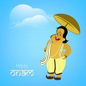 Illustration of the King Mahabali in comic way holding a umberella with stylish text of onam on ligh