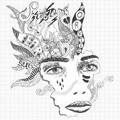 Surreal doodle sketch of a young woman experiencing huge stress and depression