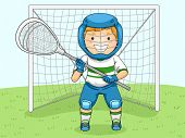 Illustration of a Boy in Lacrosse Gear Assuming a Goalie's Position