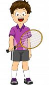 Illustration of a Boy Dressed in Lawn Tennis Gear