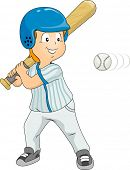 Illustration of a Boy Dressed in Baseball Gear About to Hit the Ball