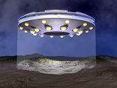 UFO landing - 3D render