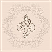 God Ganesha on Vintage Background Vector