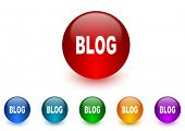blog internet icons colorful set