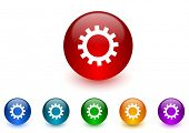 gear internet icons colorful set