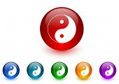 ying yang internet icons colorful set