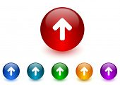 up arrow internet icons colorful set