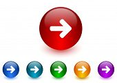 right arrow internet icons colorful set