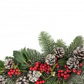 Christmas background floral border with snow, holly, ivy, mistletoe, pine cones and fir over white with copy space.