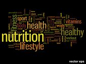 Vector eps concept or conceptual abstract health nutrition word cloud or wordcloud on black backgrou