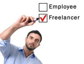 stock photo of self-employment  - young handsome business man choosing freelancer to employee option at work formular ticking box with red marker on glass isolated on white background in self - JPG