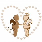 stock photo of angel devil  - Angel and devil holding hands on hearts background in chocolate color - JPG