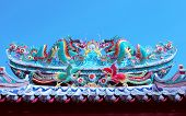 Beautiful Dragon Statue Decorated On Chinese Temple Roof Against Clear Blue Sky For Chises New Year