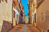 Traditional street in old town in Spain.