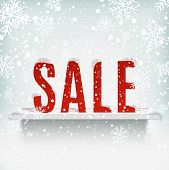 Sale poster with white realistic shelf on winter background