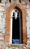 Window In Old Villa In Red Brick In Vicenza Italy