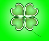 Four Leaf Clover In Green Made Of Hearts