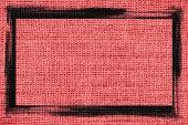 pastel red burlap textured background with black frame design