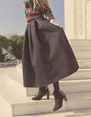 dark skirt on a woman