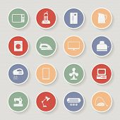 Round home appliances icons. Vector illustration