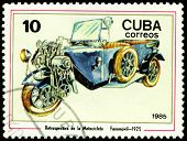 Vintage Postage Stamp. Antique Motorcycle Fanomovil - 1925.