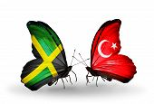 Two Butterflies With Flags On Wings As Symbol Of Relations Jamaica And Turkey