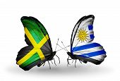 Two Butterflies With Flags On Wings As Symbol Of Relations Jamaica And Uruguay