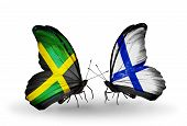 Two Butterflies With Flags On Wings As Symbol Of Relations Jamaica And  Finland
