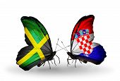Two Butterflies With Flags On Wings As Symbol Of Relations Jamaica And Croatia