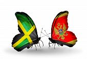 Two Butterflies With Flags On Wings As Symbol Of Relations Jamaica And Montenegro