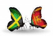 Two Butterflies With Flags On Wings As Symbol Of Relations Jamaica And Sri Lanka