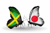 Two Butterflies With Flags On Wings As Symbol Of Relations Jamaica And  Japan