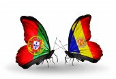 Two Butterflies With Flags On Wings As Symbol Of Relations Portugal And Andorra