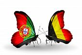 Two Butterflies With Flags On Wings As Symbol Of Relations Portugal And  Belgium