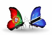 Two Butterflies With Flags On Wings As Symbol Of Relations Portugal And Botswana