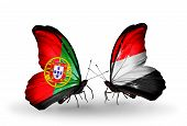 Two Butterflies With Flags On Wings As Symbol Of Relations Portugal And Yemen