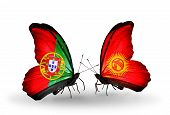 Two Butterflies With Flags On Wings As Symbol Of Relations Portugal And Kirghiz