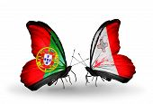 Two Butterflies With Flags On Wings As Symbol Of Relations Portugal And Malta