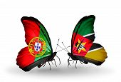 Two Butterflies With Flags On Wings As Symbol Of Relations Portugal And Mozambique