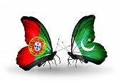 Two Butterflies With Flags On Wings As Symbol Of Relations Portugal And Pakistan