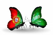 Two Butterflies With Flags On Wings As Symbol Of Relations Portugal And Saudi Arabia